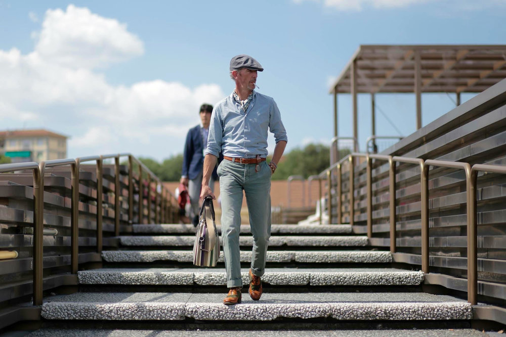 Working that rustic chic at Pitti Uomo. Photo:  Beyond Fabric