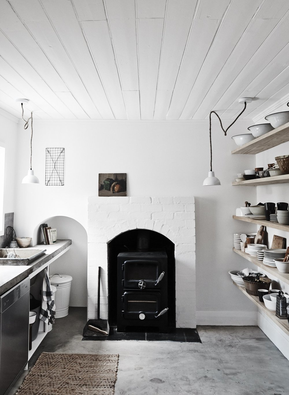 The raw white kitchen at Lynda Gardener's  The Estate Trentham . Photo - Lisa Cohen.