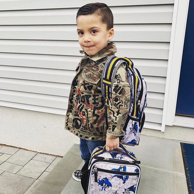(cc) @shabazz704 @marlana_torres // Young King Elijah Torres showcasing a Camouflage custom hand painted jacket by #writingsfrommichael, distressed Denim to fit(Gap), Star Wars Slip-ons (Gap), [ACCESSORIES] Batman Back Pack and Lunch Tote (Pottery Barn) and Custom Embroidery  by @sweet.science.official ready for a bright future! 🎨🙏🏾🌍