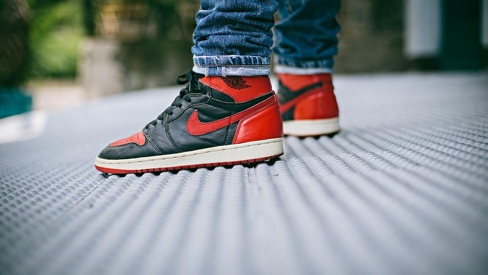 Air Jordan 1 1994 Retro Black/Red Retro Bred Sneakers Photography