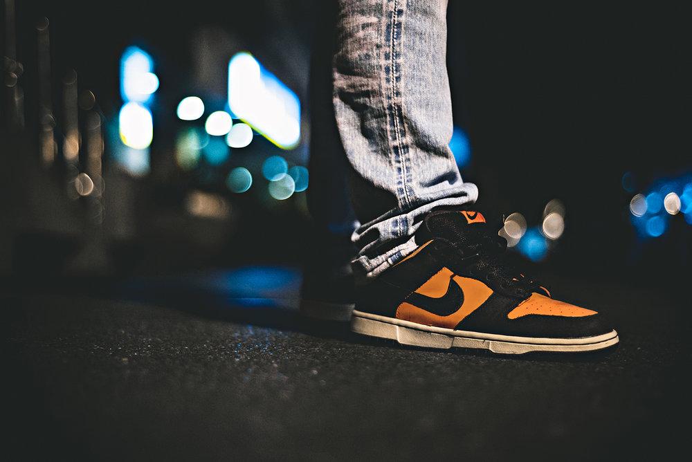 Flash Orange Nike Dunk Low SB Sneakers Photography