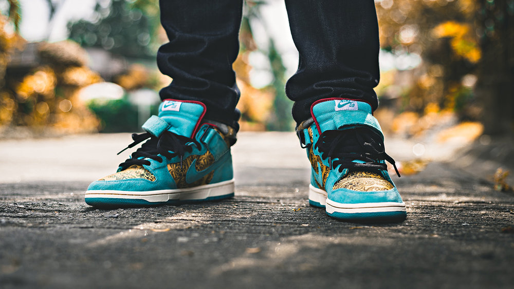 Peacock 4711 Cologne Nike SB Dunk Mid Sneakers Photography