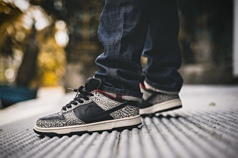 Supreme Nike Dunk Low SB Sneakers Black Cement Photography WDIWT