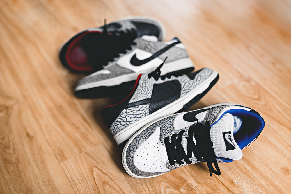Supreme Nike Dunk SB Black Cement White Cement Sneakers Photography