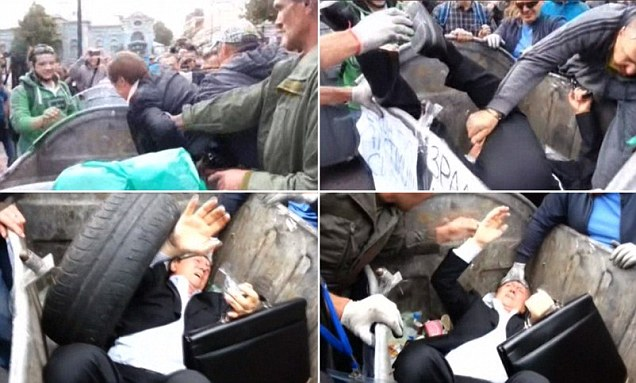 Ukrainians chuck one of their politicians into the actual bin