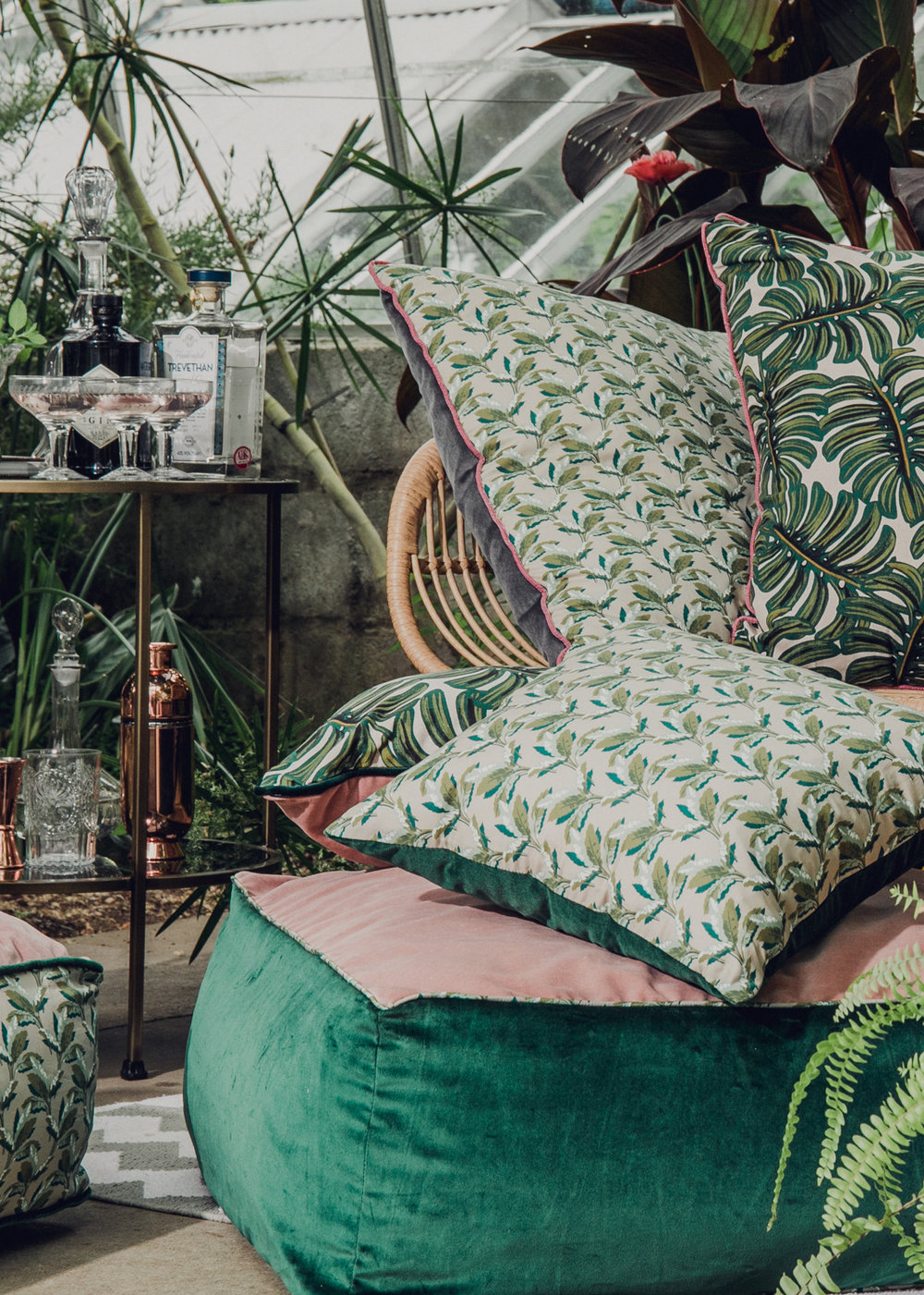 Reversible ottoman in green and pink velvet piped in Liberty Print 'Palm Paradise""