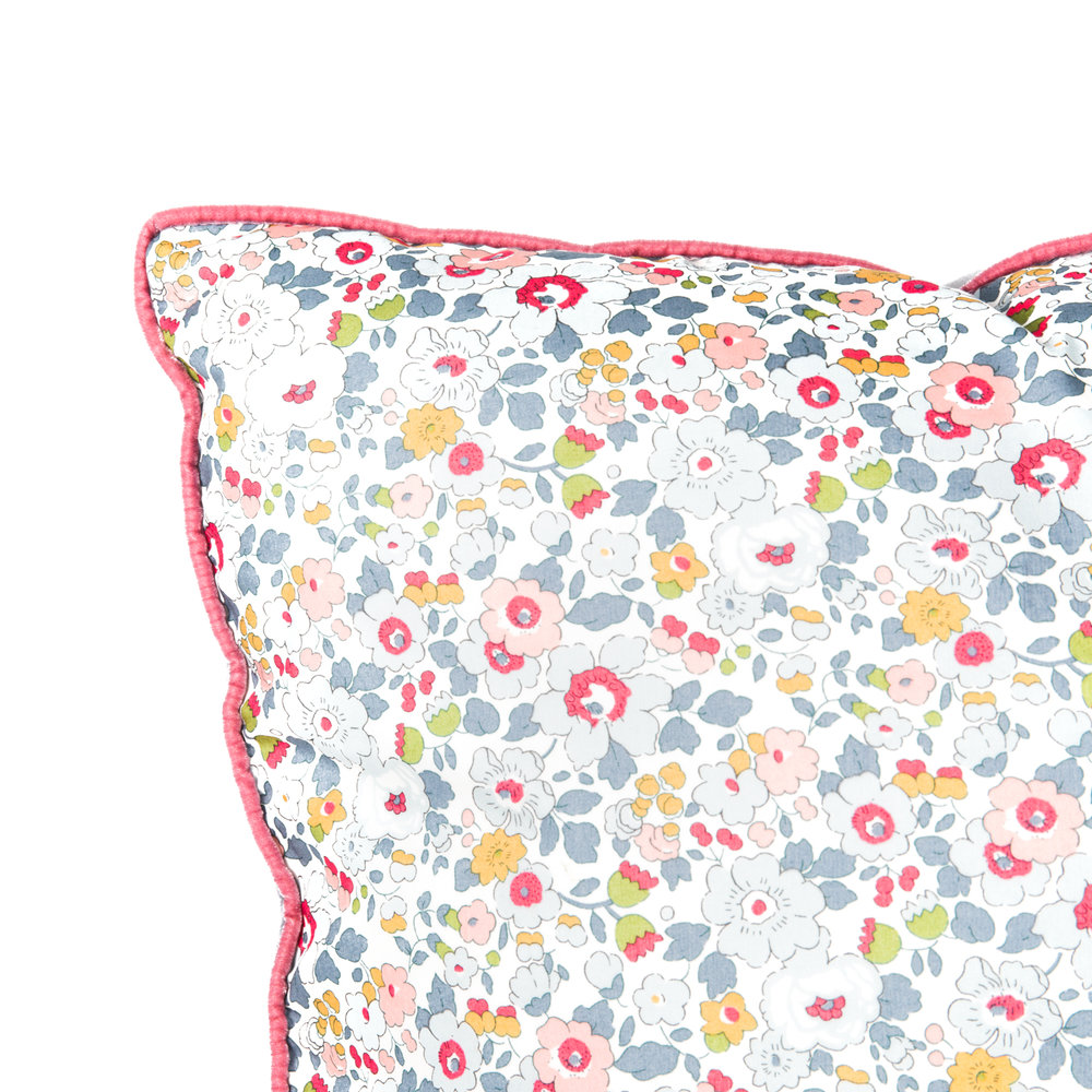 Extra Large cushion in Liberty of London 'Betsy.' piped in pink velvet with silver grey velvet on the reverse.