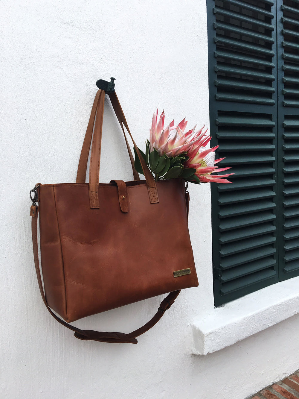 cognac bag - white wall and proteas.jpg