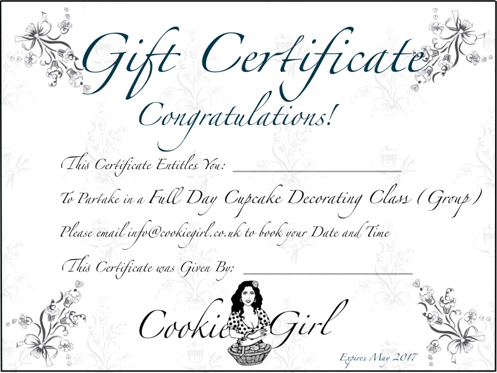 Cake Decorating Gift Certificate : Gift Certificates Cookie Girl Cake Baking & Decorating Courses