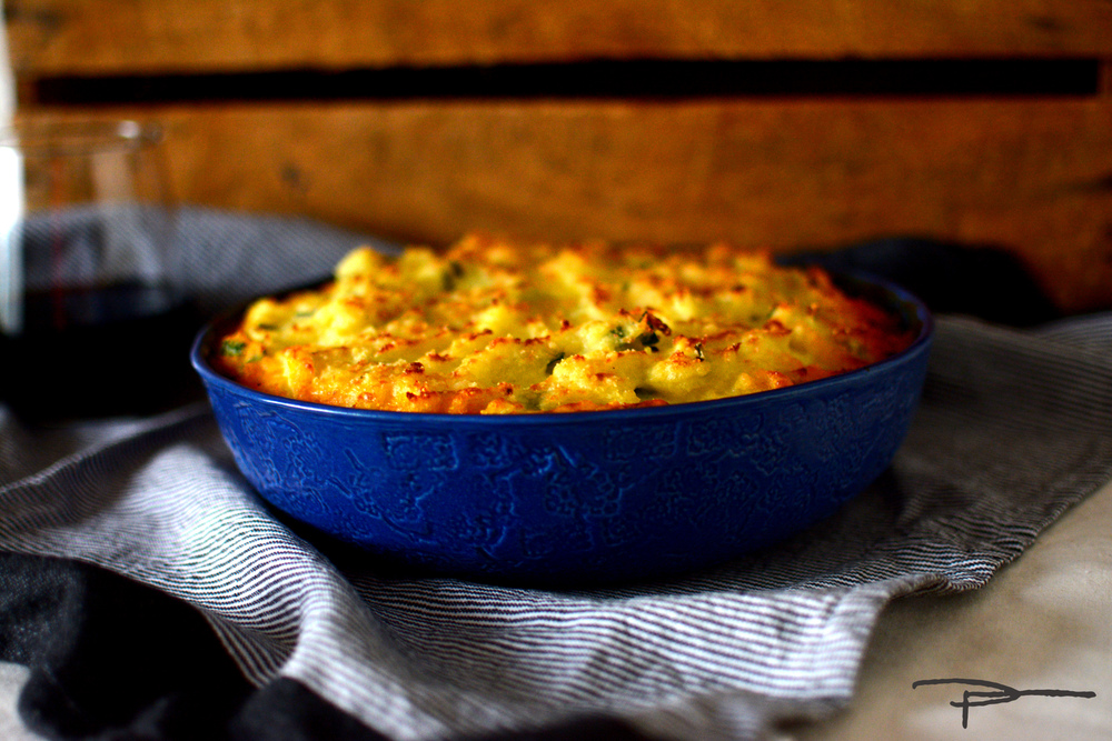 Shepherd's Pie served up in an Indigo Lady Baker bowl