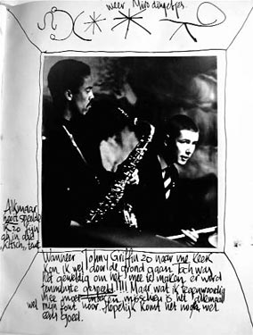 Pagina uit Benninks dagboek, met Johnny Griffin, 1963. Collectie Han Bennink