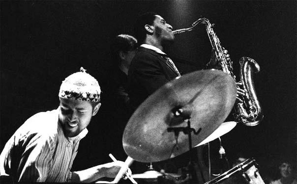 Met Ruud Jacobs en Sonny Rollins in Arnhem, 3 mei 1967. Foto Toon Fey