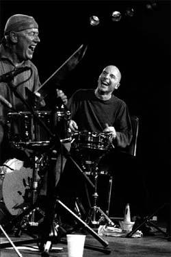 Met collega Joey Baron in Antwerpen, 1999. Foto Francesca Patella