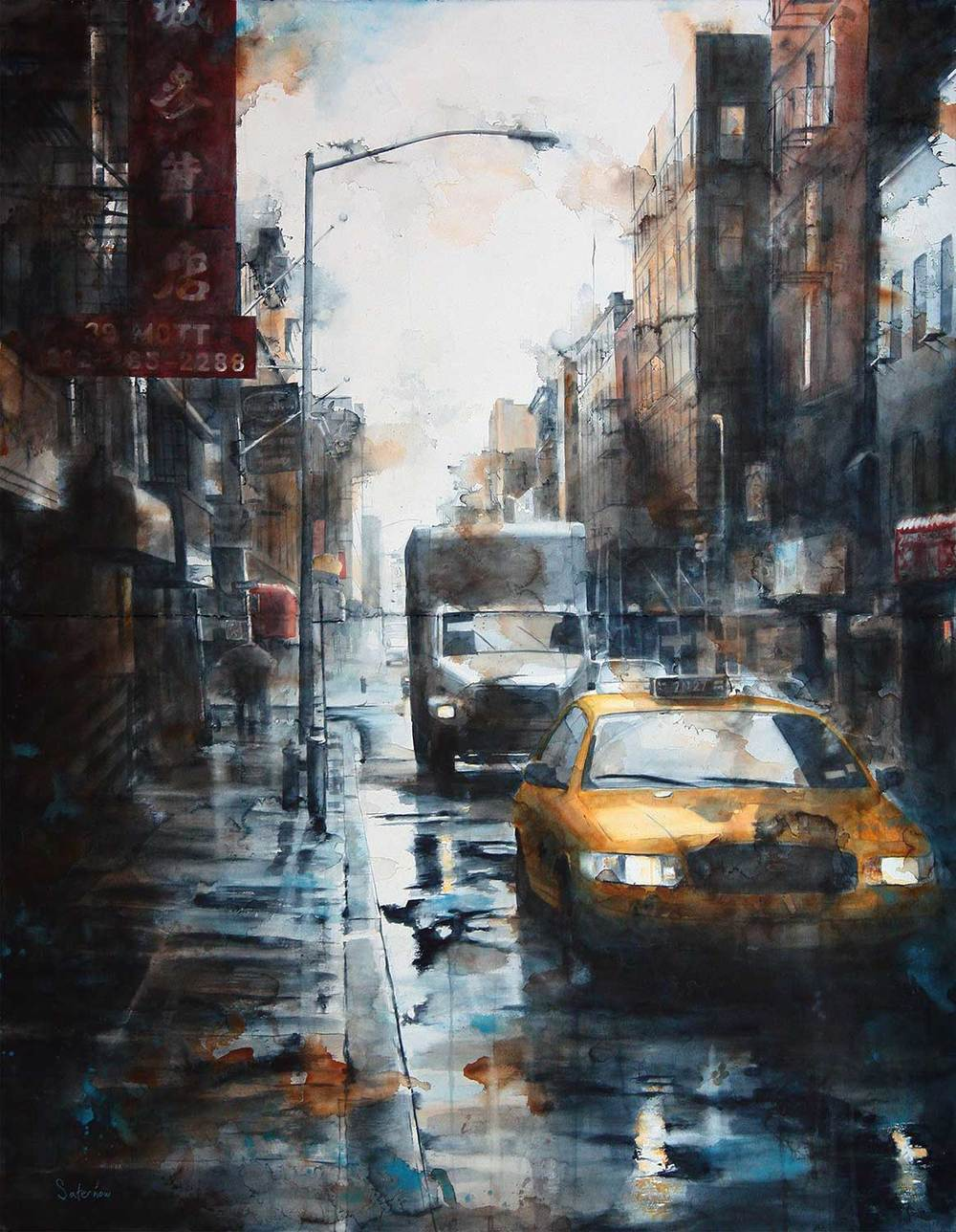 39 Mott Street, rain (Diptych)