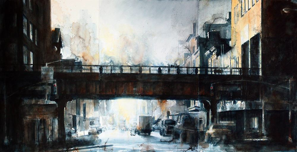 Tim Saternow, Untitled, Watercolor Triptych, 40 x 78""
