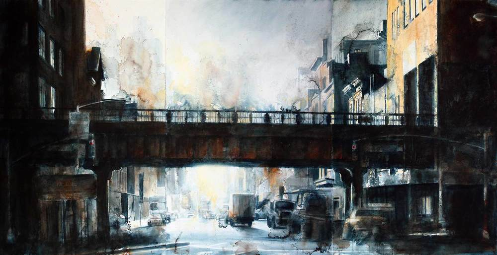 "West 14th Street & 10th Ave (Triptych), Watercolor on paper, 72x40"" 2008"