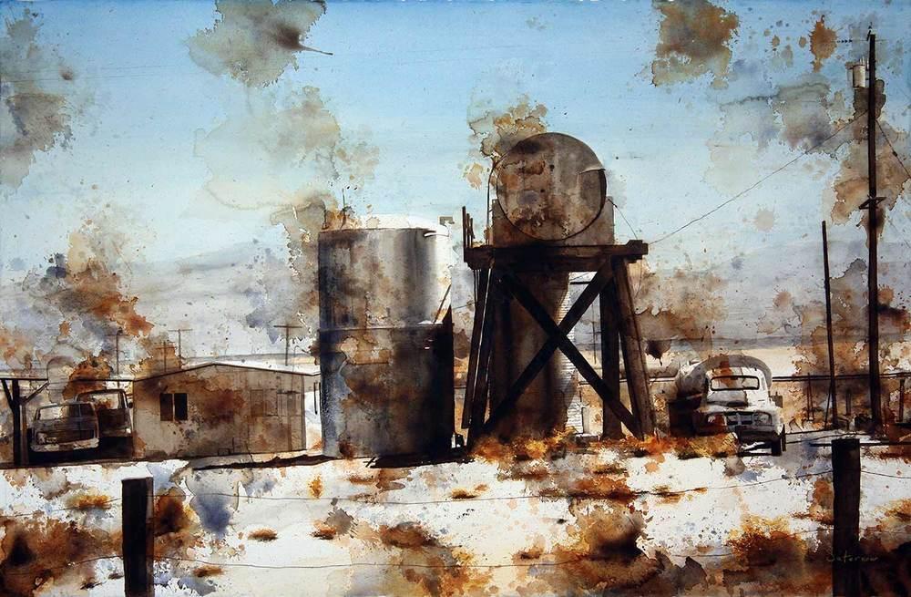 "Amboy Tanks, 2013 Watercolor on paper, 26x40"""