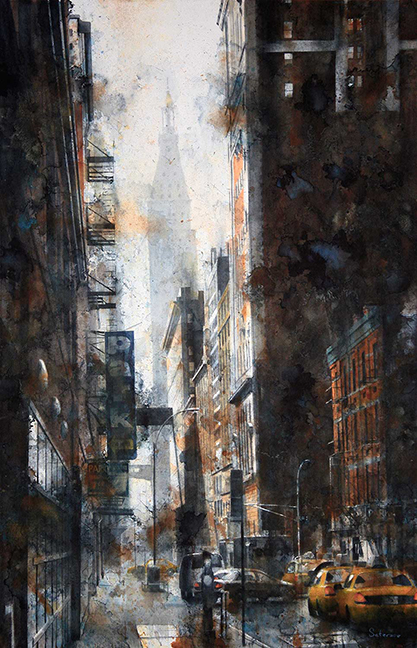 """PARK - West 24th Street (Met Life Tower), 2015 Watercolor on paper, 40x26"""""""