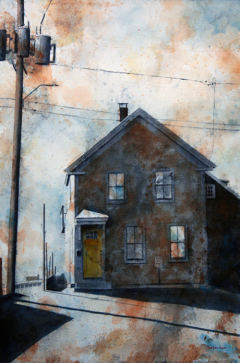 """Yellow Door, Commercial Street,  2018 The Provinctown Series Watercolor on paper, cold wax medium, mounted on canvas, 26x18"""""""