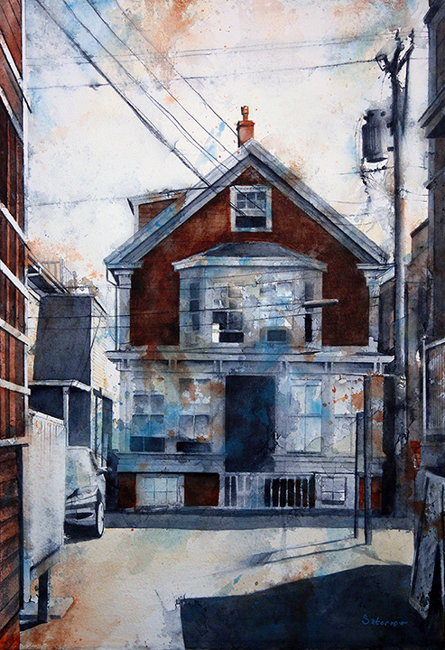 """441 Commercial Street (Kiley Court) , 2018 The Provincetown Series Watercolor and cold wax medium on paper, mounted on canvas, 26x18"""""""