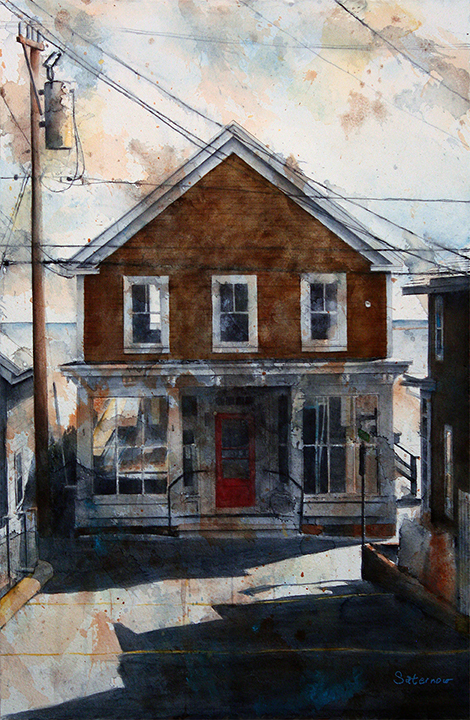"""147 Commercial St (Red Door),  2018 The Provincetwon Series Watercolor and cold wax medium on paper, mounted on canvas, 26x10"""""""