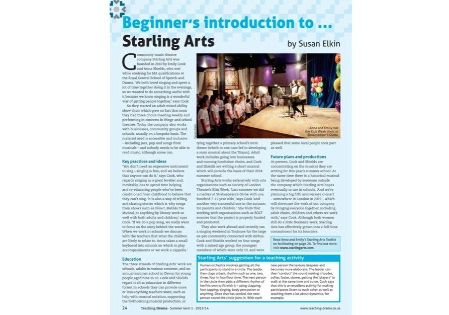 A feature on Starling Arts in Teaching Drama Magazine