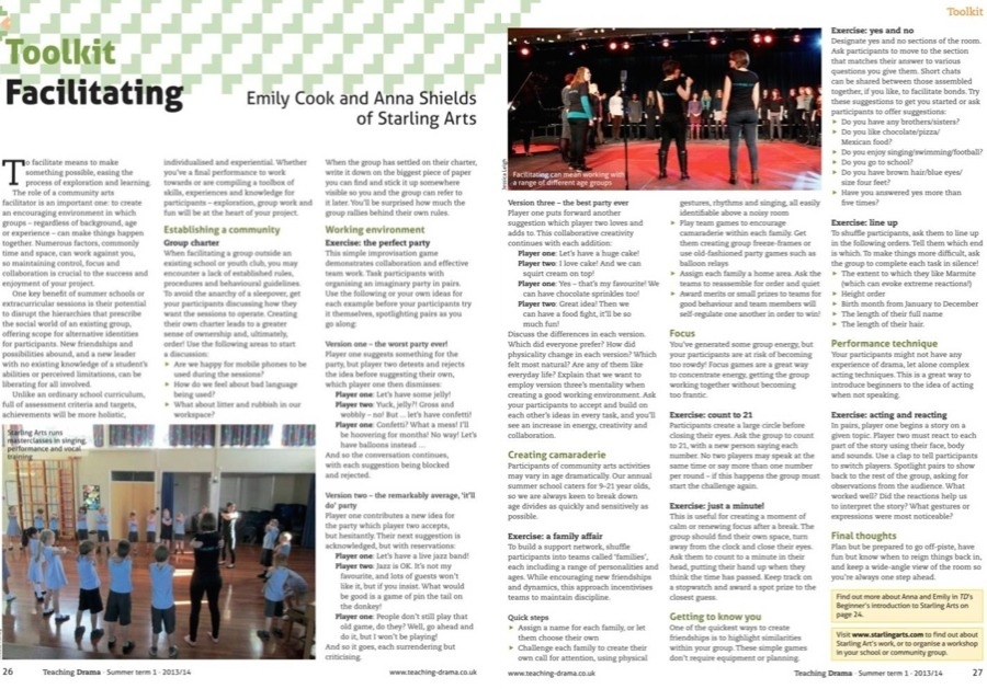 A piece on facilitating by the Starling Arts team in Teaching Drama Magazine