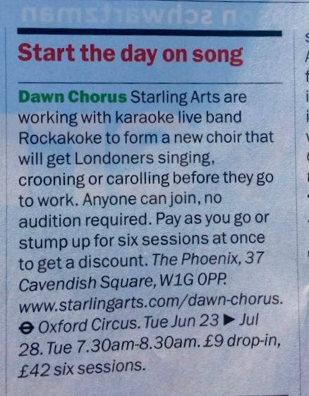 Coverage in Time Out for Dawn Chorus