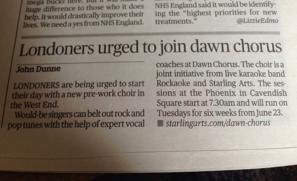 Dawn Chorus coverage in the Evening Standard