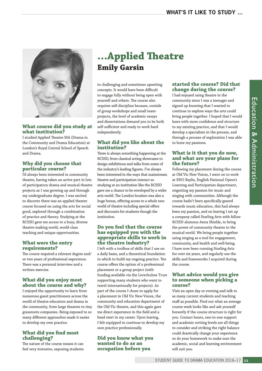 Feature on Emily's training in the Drama Education Guide