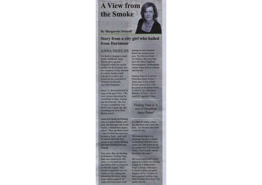 Interview with Anna by Magarette Driscoll in The Moorlander paper