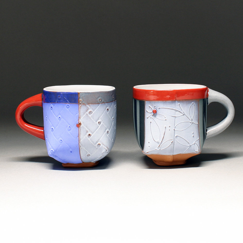 Quilted and Floral Mugs