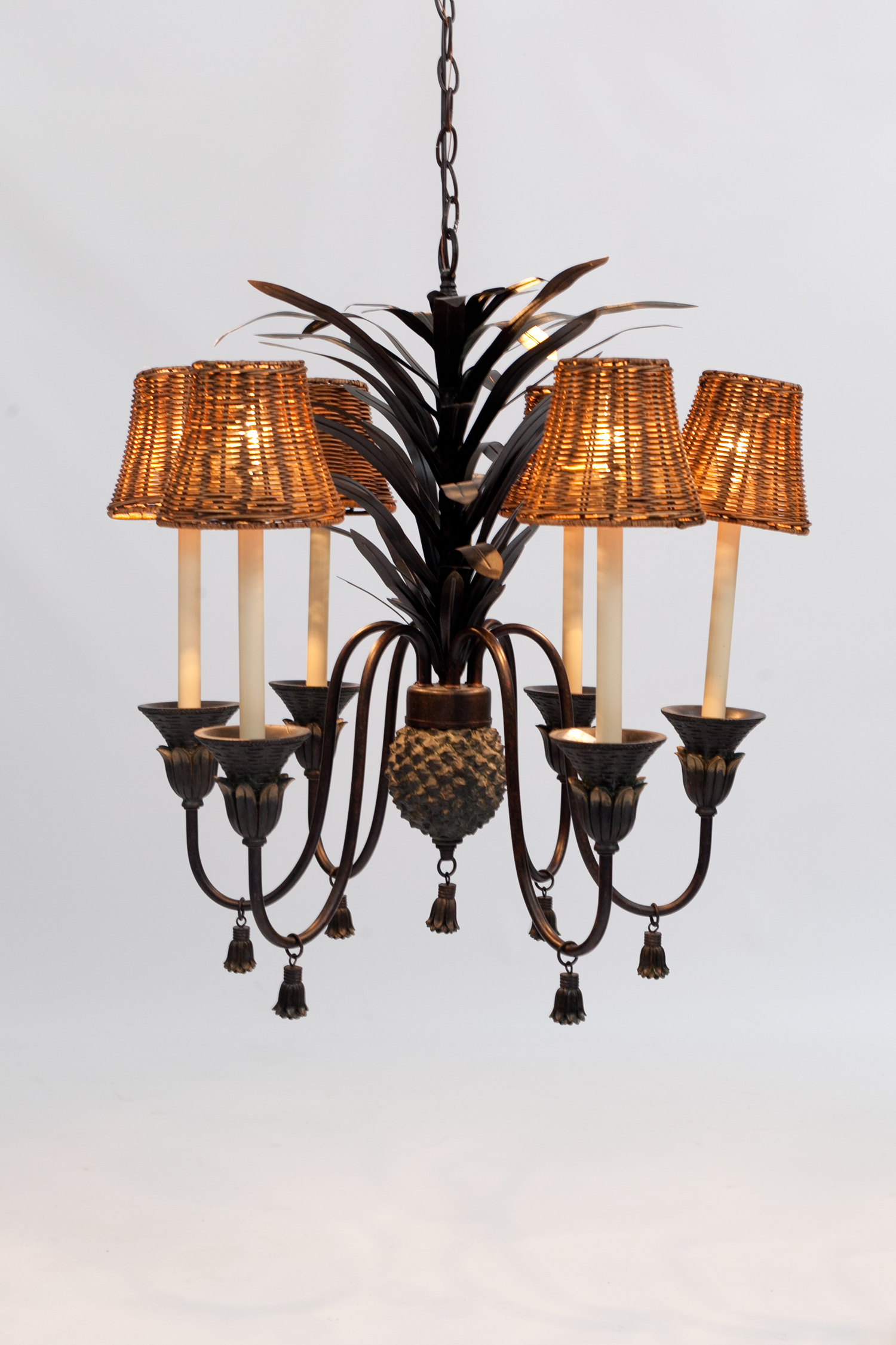 Pineapple Chandelier with Tassles and Woven Shades — Casa Boheme