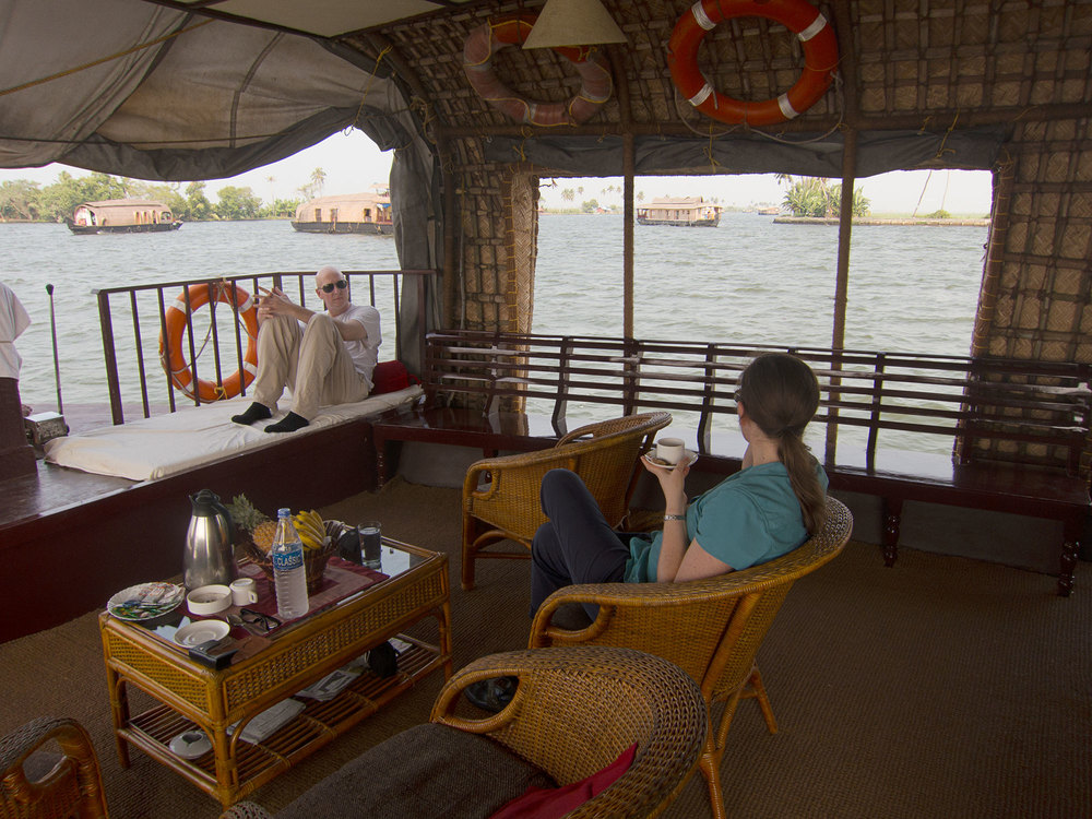 Adam and Stacy in the lounge area in the front of the boat.