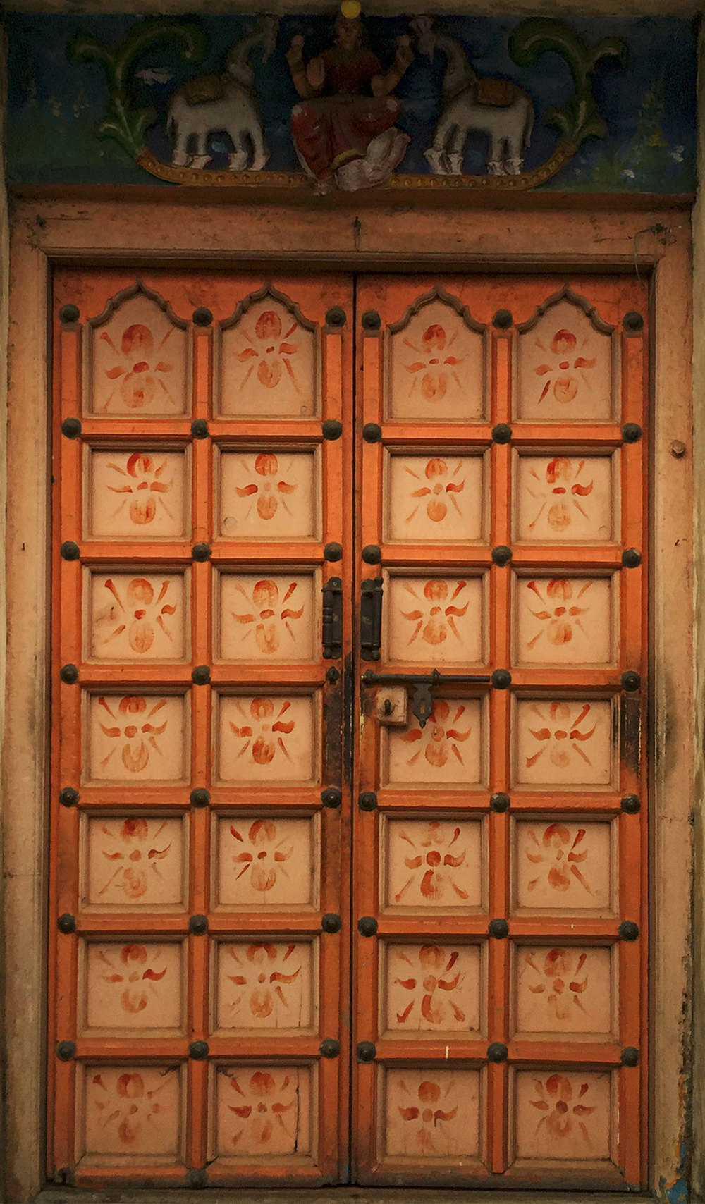 Detail of the doors of the little Krishna temple.  Love the pattern.