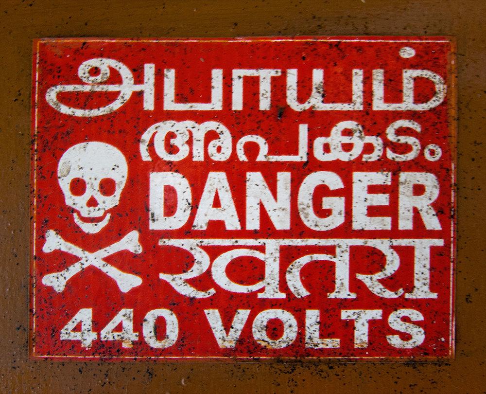 Danger sign in the station....440 volts!