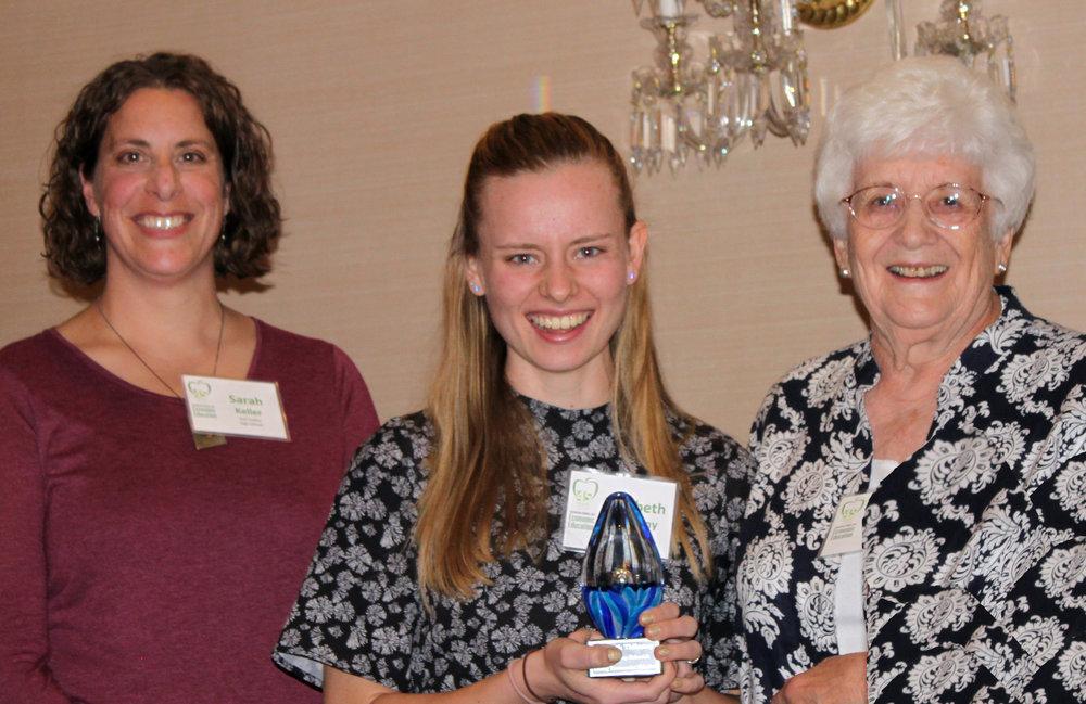 Sarah Keller, teacher; Elizabeth Thilmany, winning student; and LaKay Schmidt, founding CCEE President