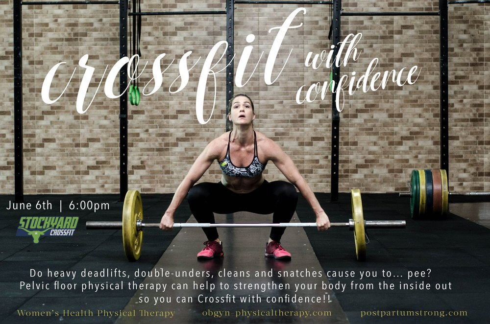 Do some Crossfit movements make you go... pee?  Join us at  Stockyard Crossfit  June 6 at 6:00pm for a special workshop with  Women's Health Physical Therapy  to learn how to strengthen your body from the inside out!  June 6th @6pm  Stockyard Crossfit 11531 Hull Street Rd, Midlothian, VA 23112