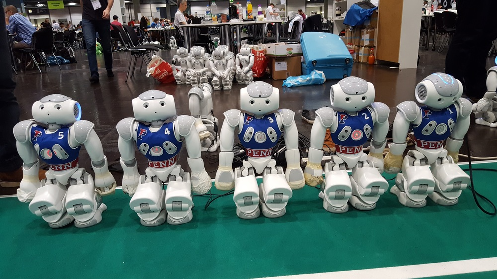 Robots ready to play a match