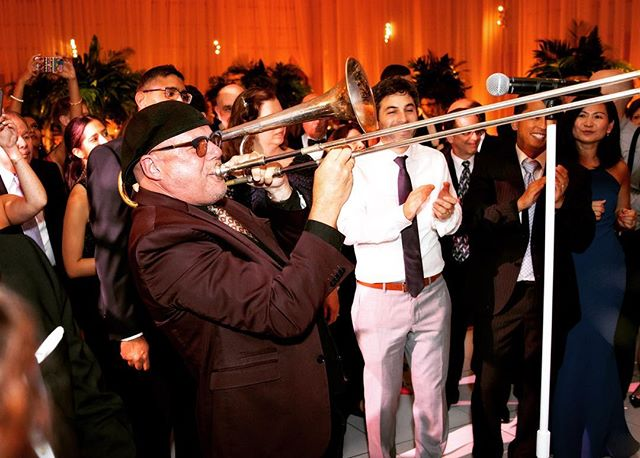 Sound the horns! Lennie P. Havin at it ladies and gentleman! Photo courtesy of the incredible @personkillianphoto - Shout out to our dear friends Jenny & Matt! And of course all our besties @janiehaasevents - Happy Wednesday Insta Nation!!