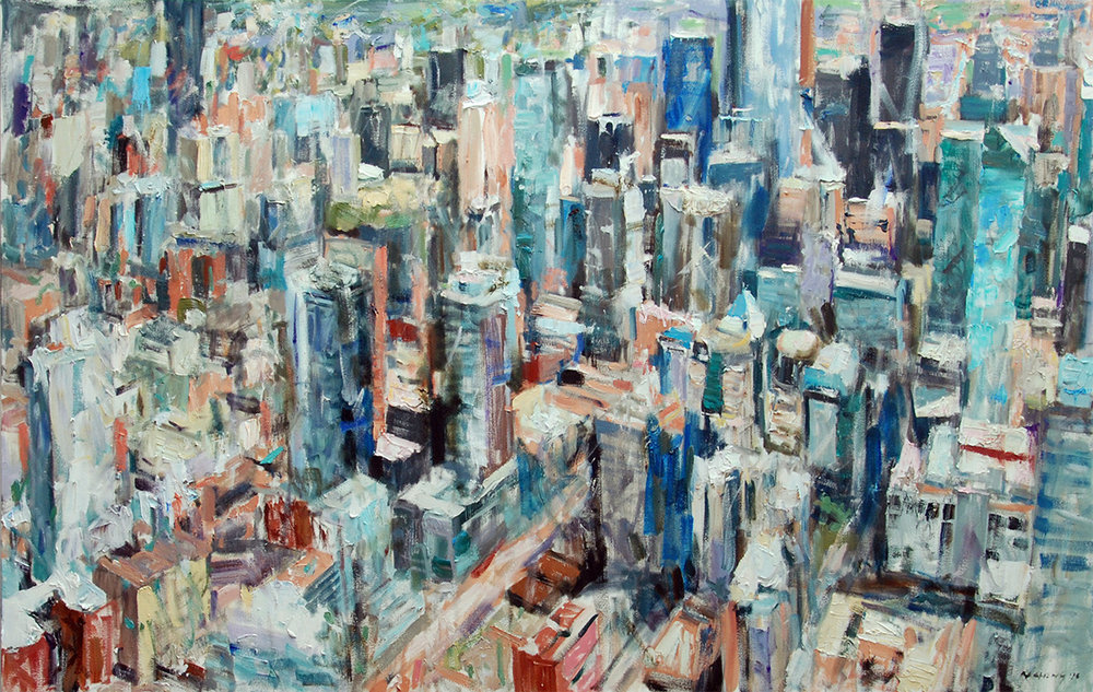 Urban Ambience  2018. Oil on Canvas. 173 x 107 cm (68 x 42 inches). Private Collection.
