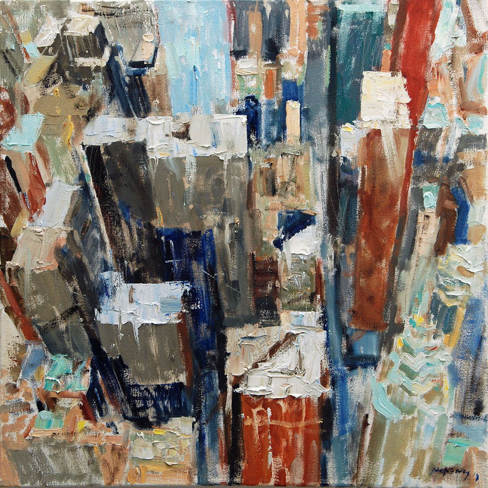 Pillars  2018. Oil on Canvas. 76 x 76 cm (30 x 30 inches). Private Collection.