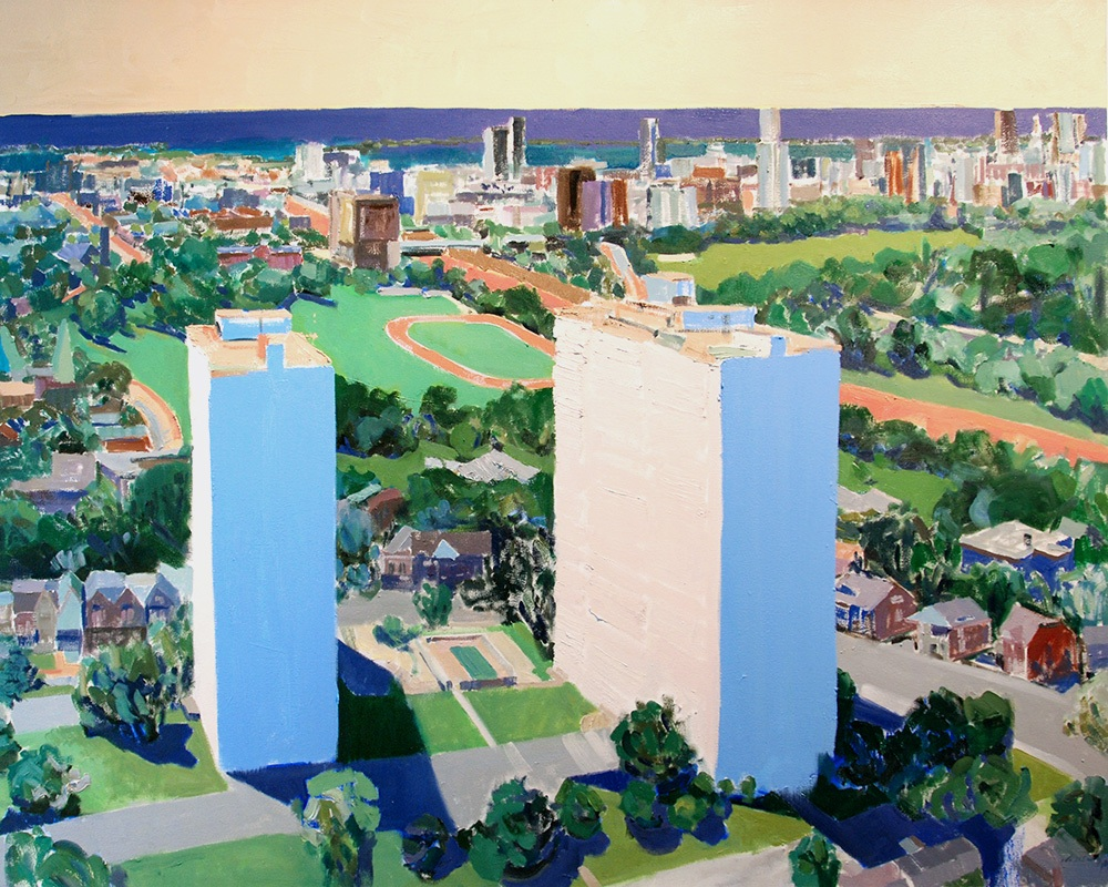 Overlooking Riverdale  2019. 62 x 50 inches. Oil on canvas.
