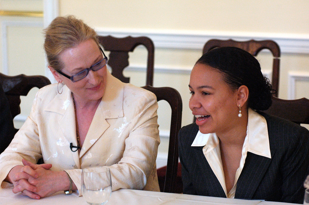 Meryl Streep at the Creativity Roundtable with Legacy Winner Sarah Lockridge-Steckel