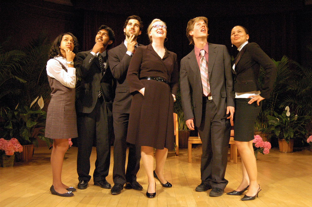 Meryl Streep with the 2008 Legacy Winners: Chelsea Harrison, Ayon Sen, Mickey Ashmore, Luke Jensen, and Sarah Lockridge-Steckel