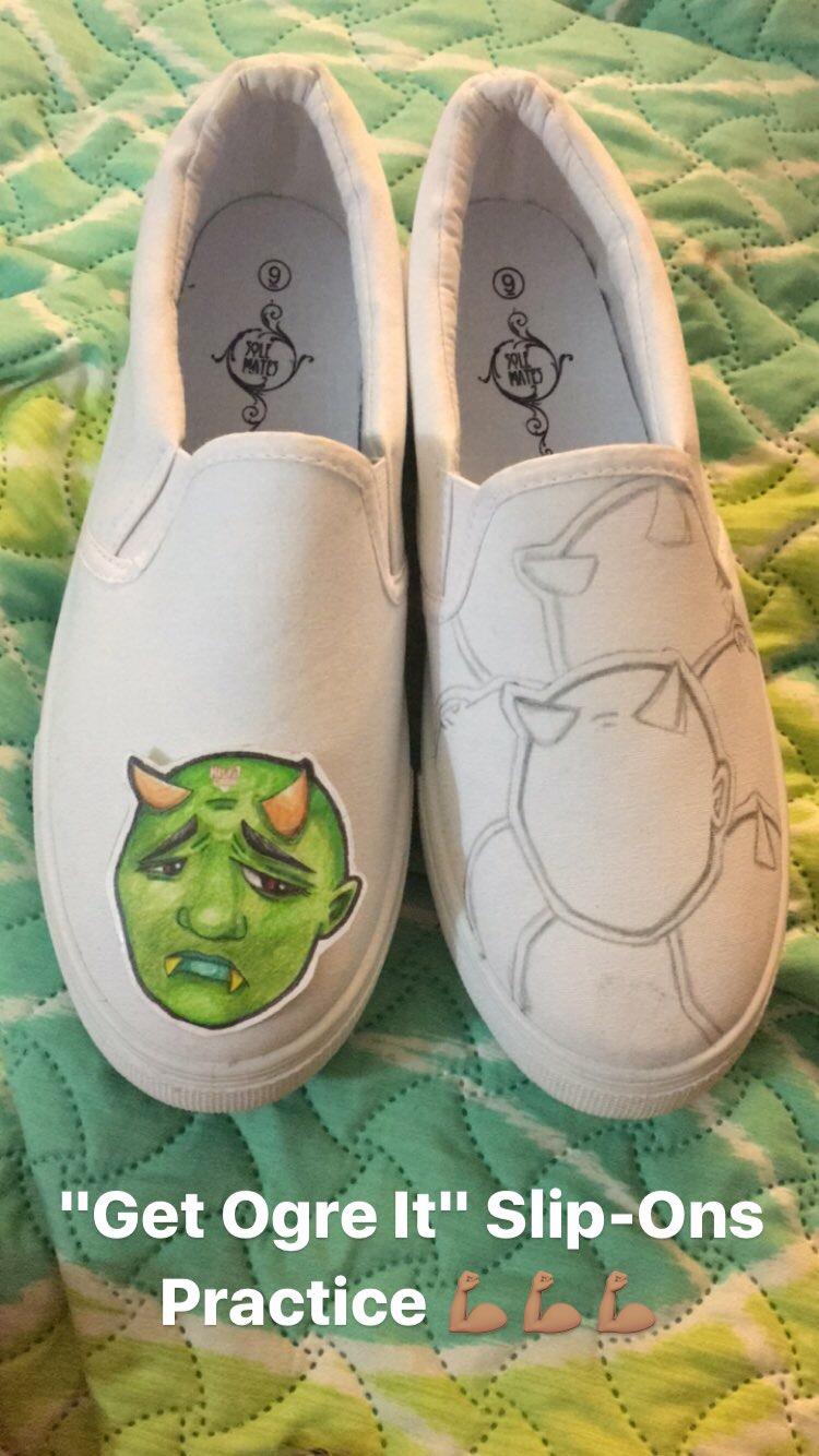 """Get Ogre It"" Slip-On progress, MisfitDina© 2017"
