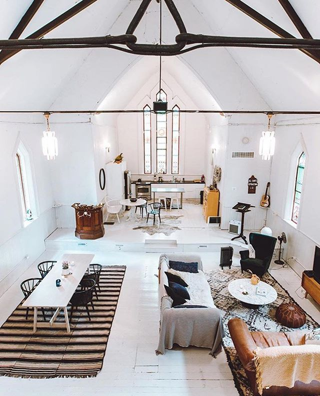 The Camlachie Chapel, Plympton-Wyoming  2 hours 55 minutes  Photos via @moodycabingirl  Get ready to use this emoji 🙏🙏🙏 even more than you already do, 'cause the Camlachie Chapel is the 💒 emoji incarnate and will have you singing PRAISE [Airbn]BE. This recently renoed rental sleeps 6 in 3 comfy-cozy-probably-not-haunted bedrooms. An outdoor fire pit and indoor wood stove add even more winter warmth to this super-photogenic space, making it the perfect destination for a music, photo or creative retreat this season. Hashtag blessed. DM for the link to book (pssst - there are lots of weekends available!). #escapetoronto