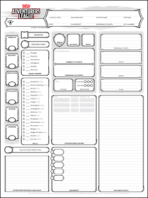 A Dungeons and Dragons character sheet as provided by Wizards of the Coast. Firelight streamlines this information into a few cards