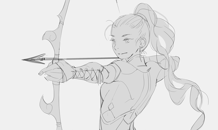 The rough outline for the 'Archer' Adventurer in  Firelight , drawn by Loika