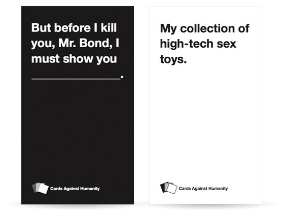 The first card combination shown on the  Cards Against Humanity  Kickstarter page